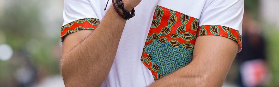 Achetez  des t-shirts pour Homme | Hauts africains, t-shirt Wax, t-shirt Bogolan - Tendiwax